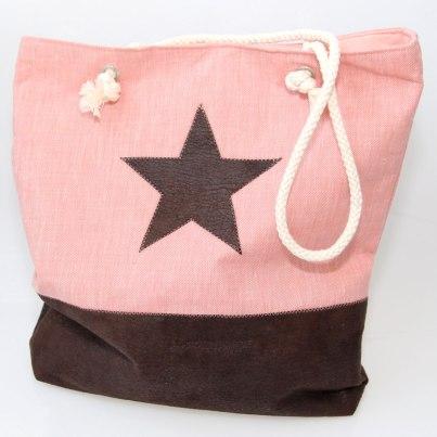Tasche mit Stern in rosa und braun