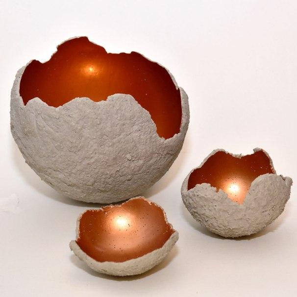 Beton-Windlichter in Kupfer