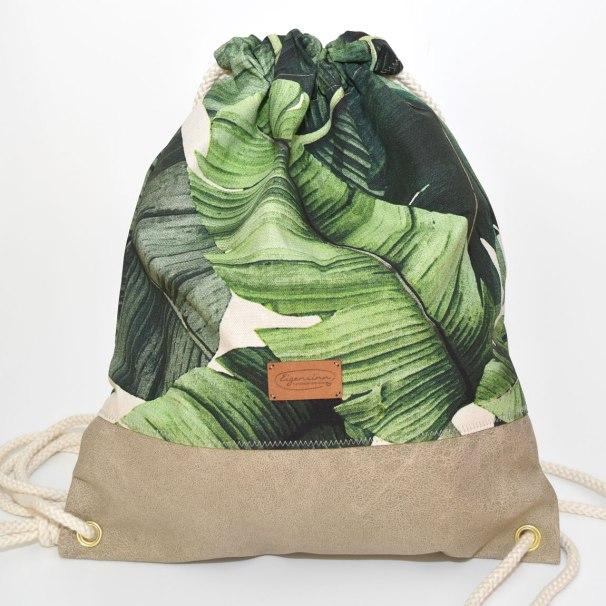 Sommerlicher Turnbeutel im Palmen-Muster und Kunstleder