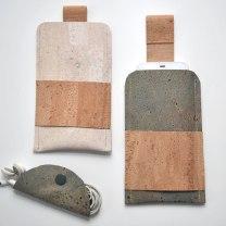 Handyhüllen und Kabelbinder aus Korkstoff