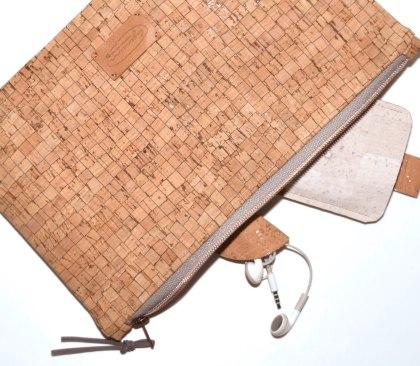 Kork Clutch mit Reißverschluß in Kupfer